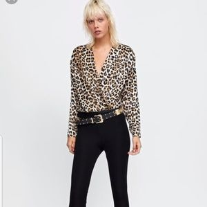 NEW WITH TAGS ZARA BODYSUIT LEOPART BLOUSE